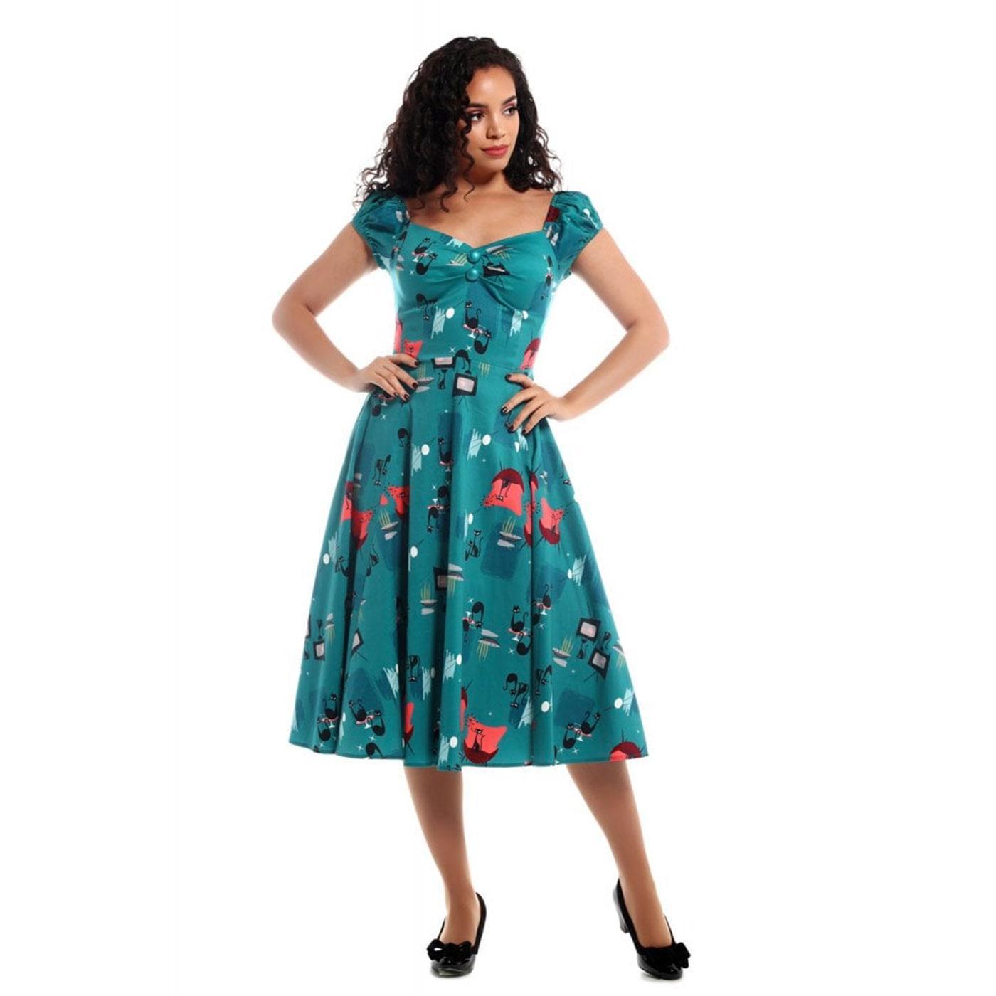 los angeles b310c 1ad2e Dolores COLLECTIF Retro Atomic Cats Doll Dress