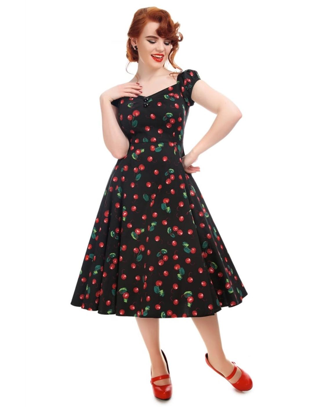 Dolores COLLECTIF Retro Black Cherries Doll Dress