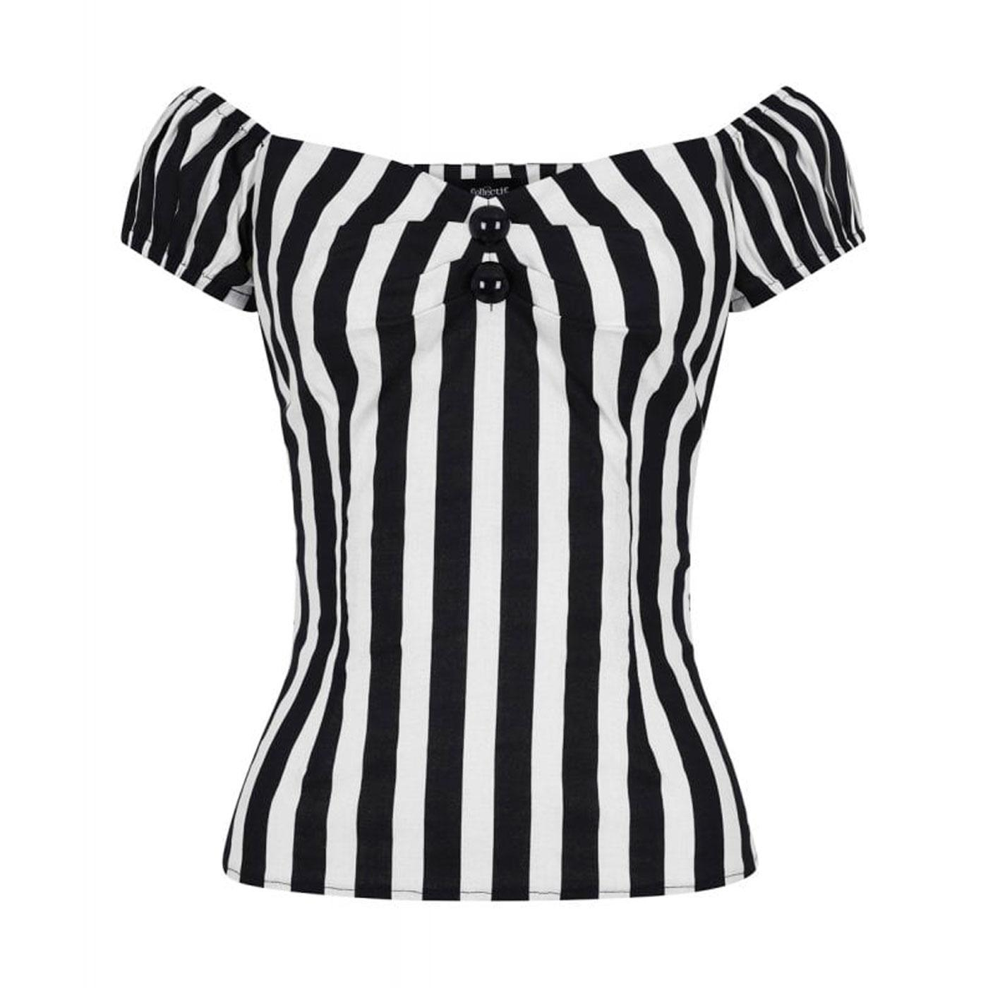 Dolores COLLECTIF Vintage Striped Top Black/White