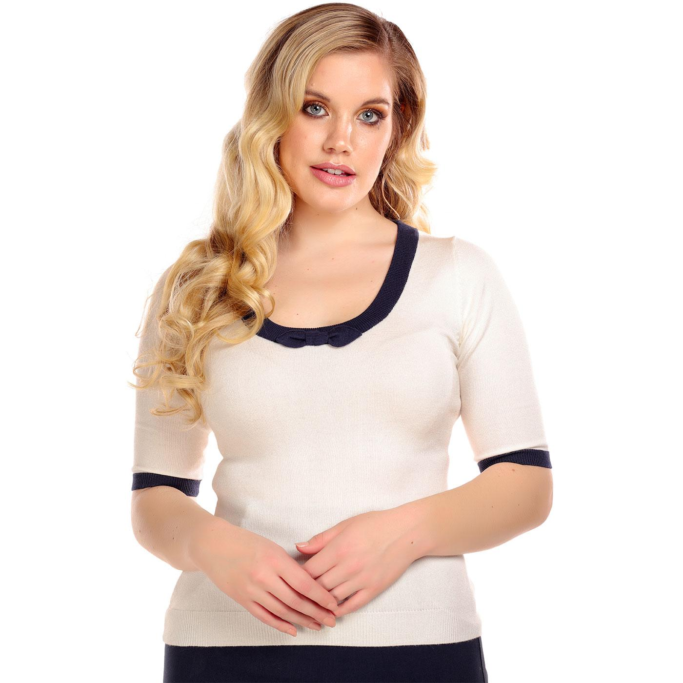 Freya COLLECTIF Vintage Knitted Bow Top IVORY/NAVY