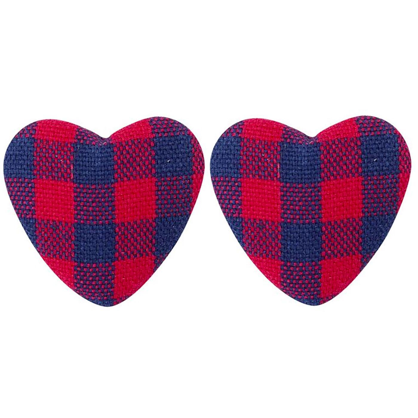 + Bobby COLLECTIF Gingham Heart Stud Earrings R/N