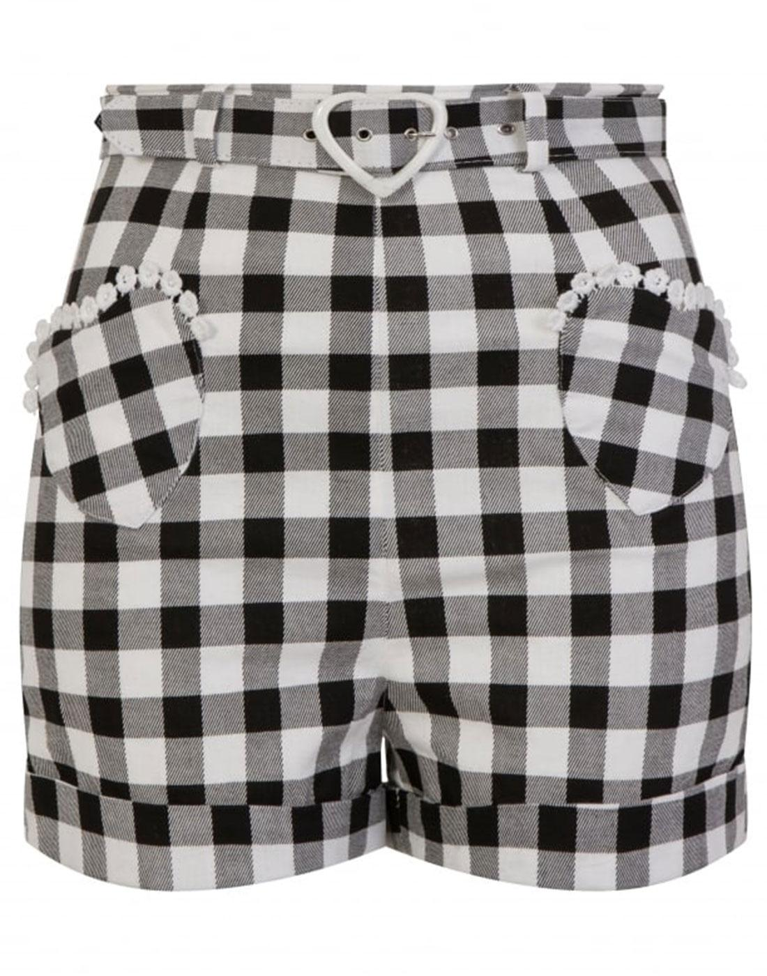 Lisa COLLECTIF Vintage 50s Gingham Shorts Black