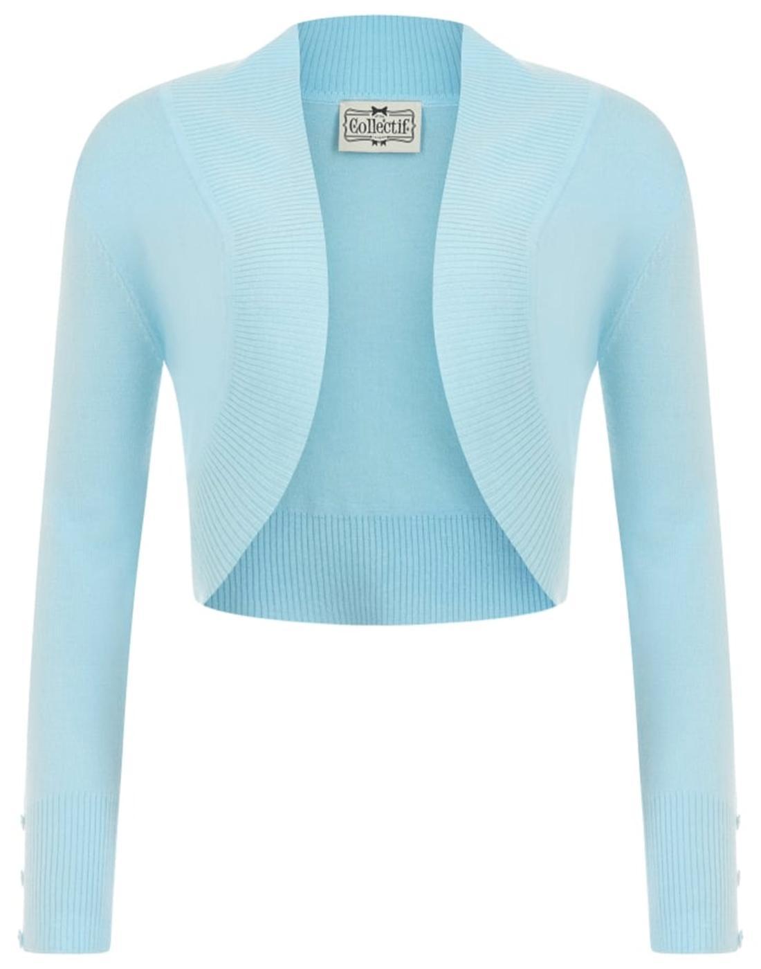 Jean COLLECTIF Vintage 50s Bolero Cardigan Blue