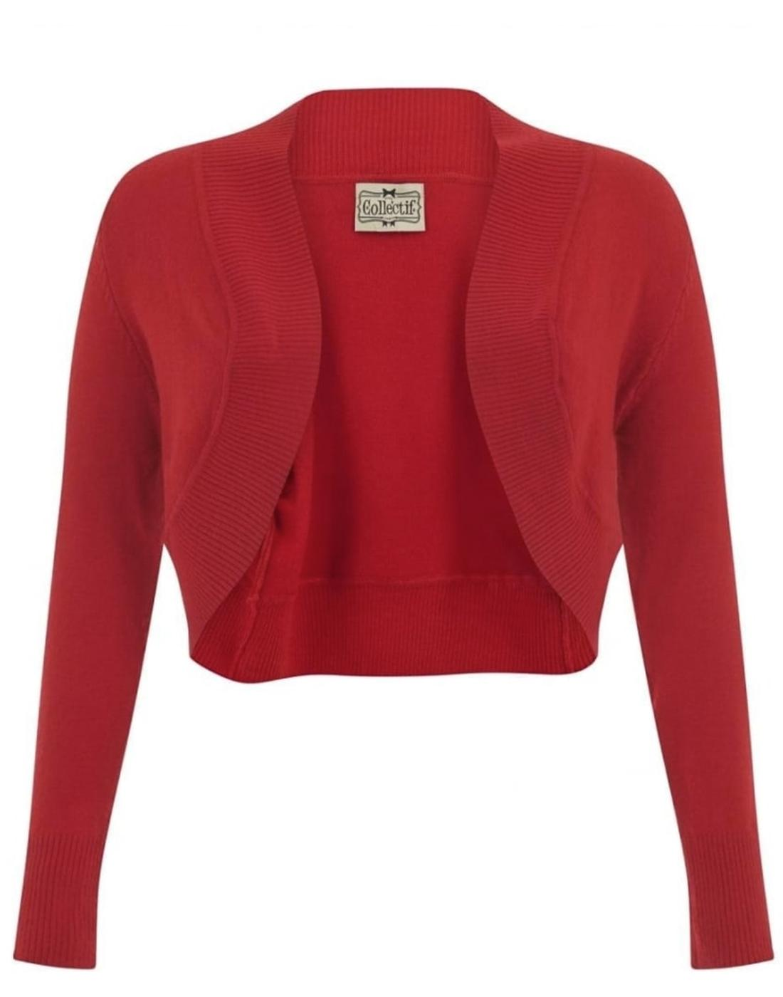 Jean COLLECTIF Vintage 50s Bolero Cardigan Red