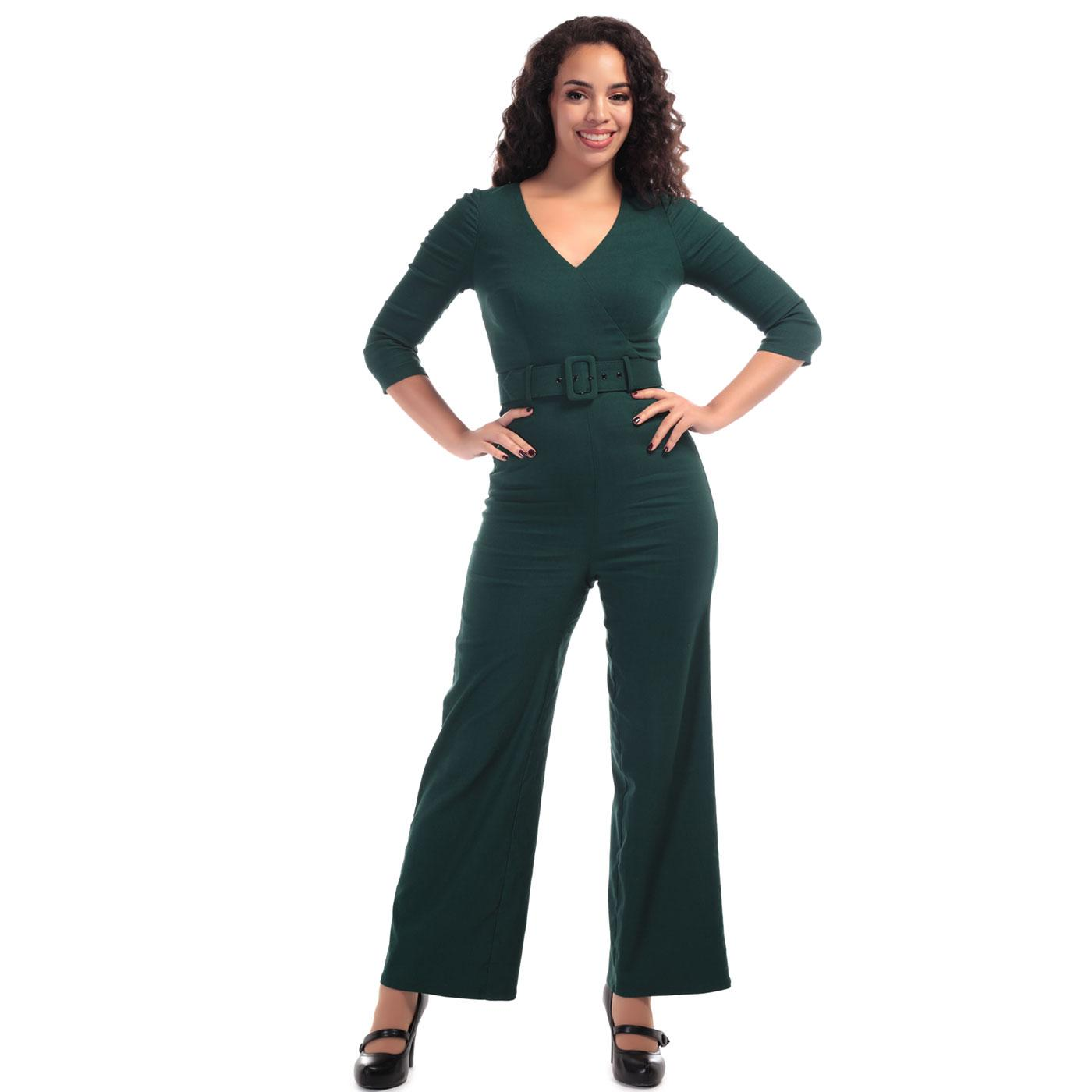 Jessi COLLECTIF Retro 70s Women's Jumpsuit Green