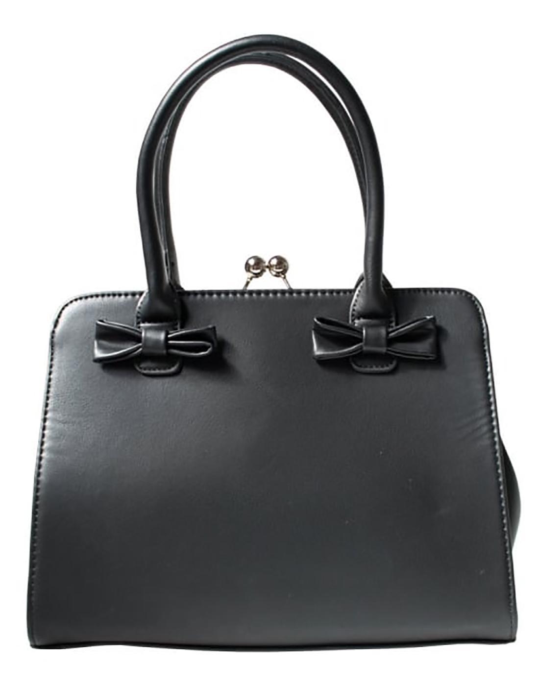 Jessica COLLECTIF Retro 1950s Bow Handbag in Black