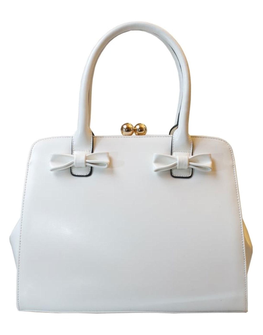 Jessica COLLECTIF Retro 1950s Bow Handbag in White