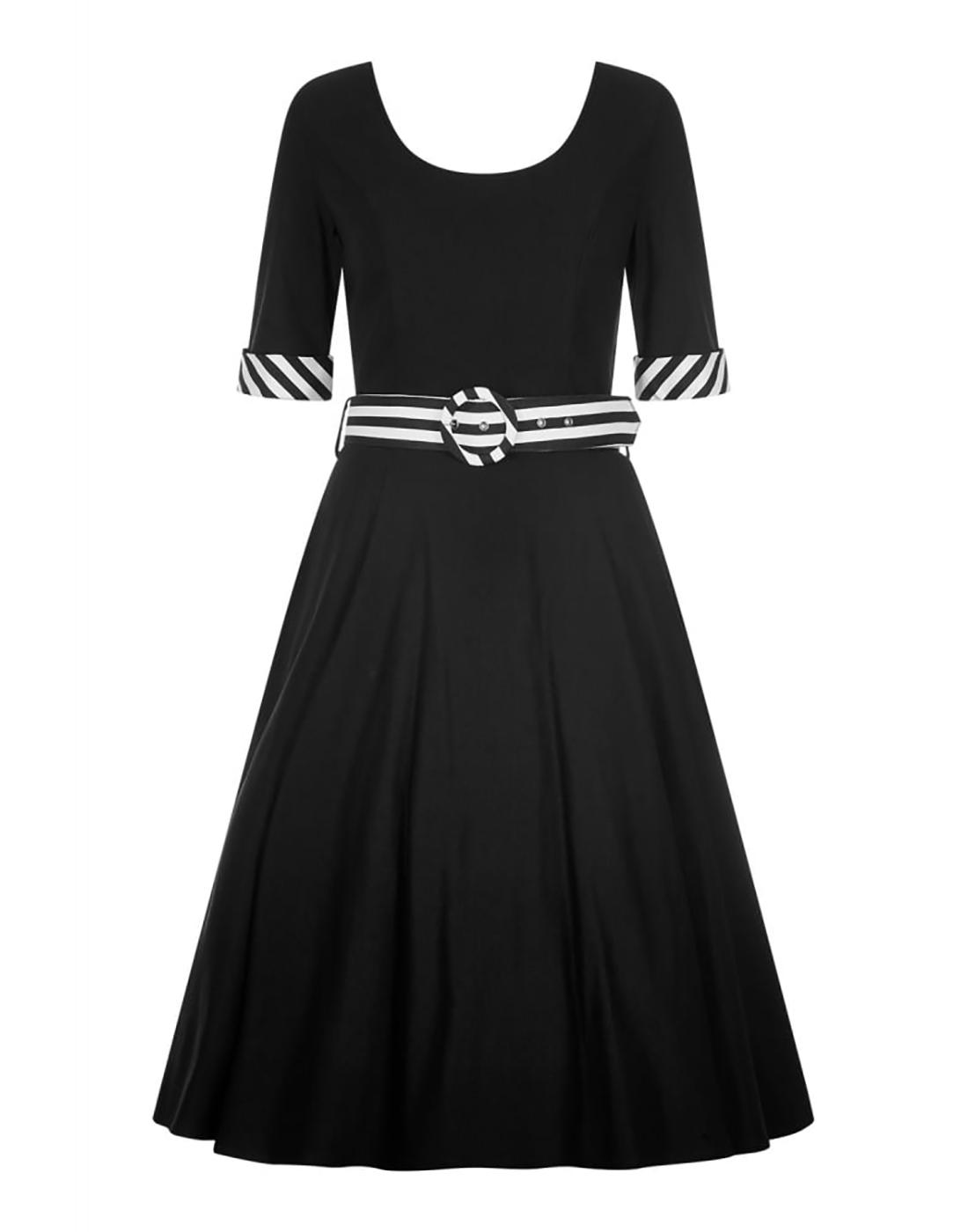 June COLLECTIF Retro 50s Vintage Doll Dress Black