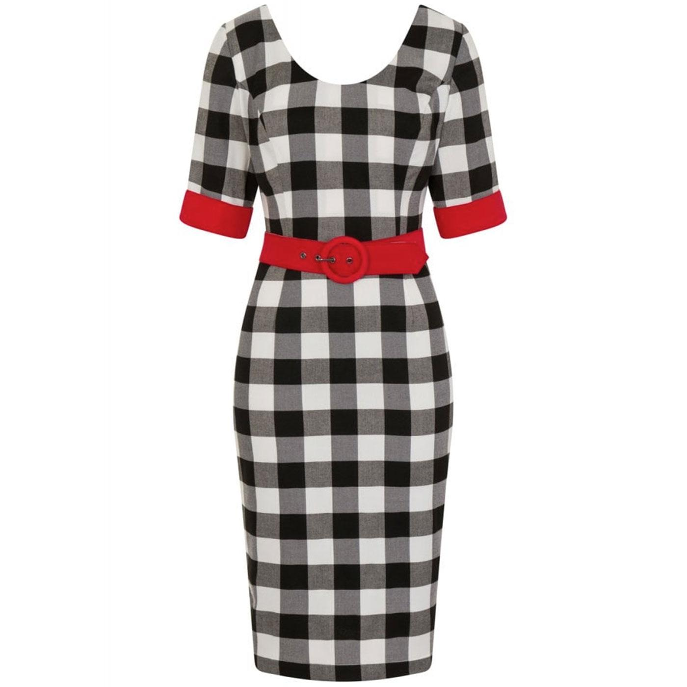 June COLLECTIF Vintage Gingham Pencil Dress B/W