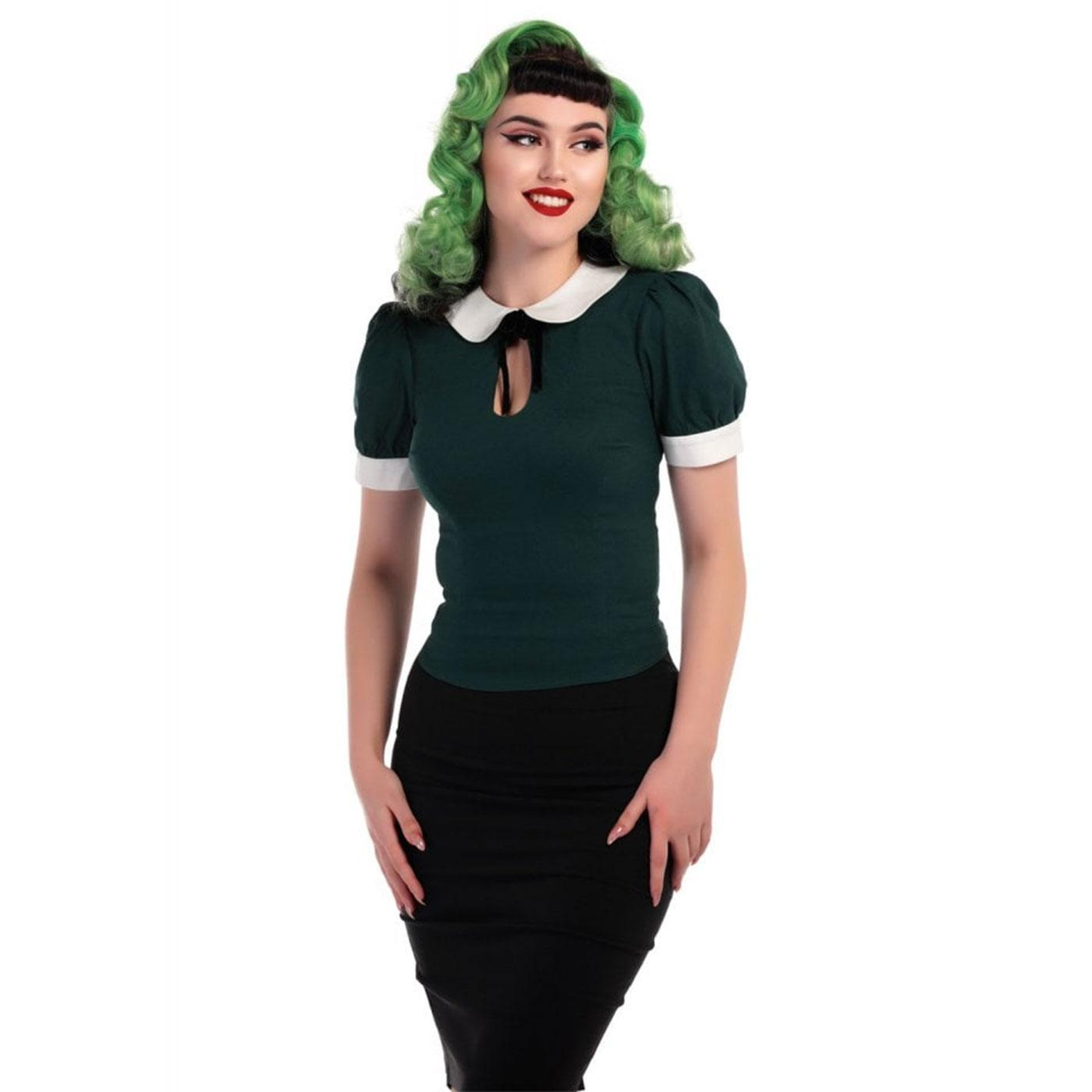 Khloe COLLECTIF Retro Keyhole Peter Pan Top Green