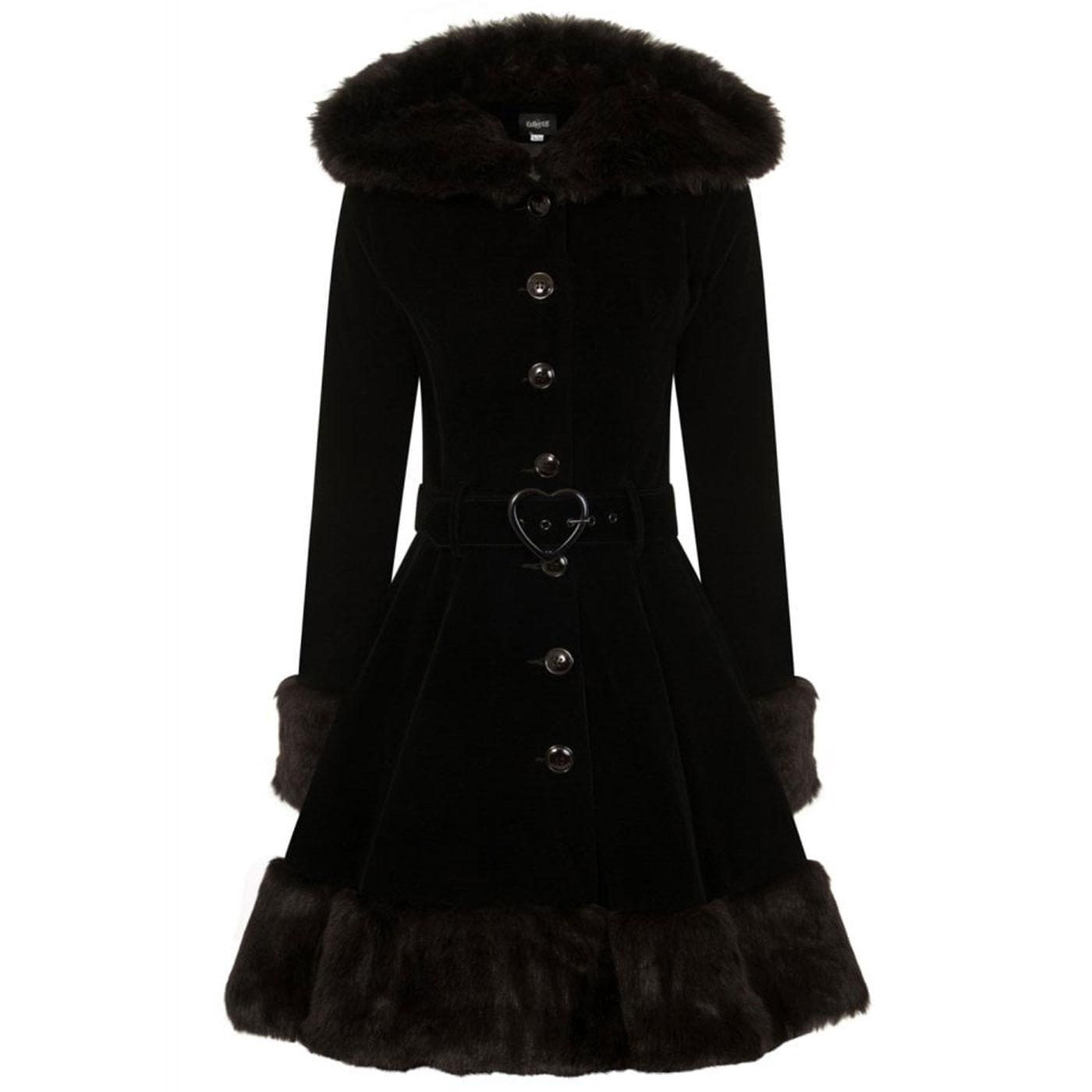 Laila COLLECTIF Retro Hooded Short Velvet Coat