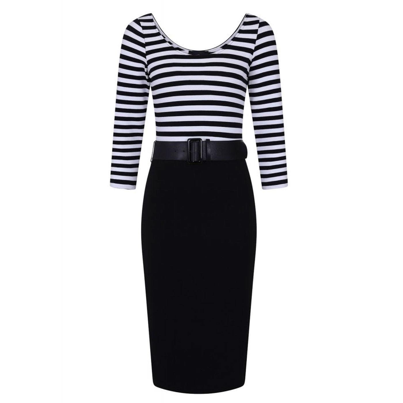Manuela COLLECTIF Striped Pencil Dress BLACK/WHITE
