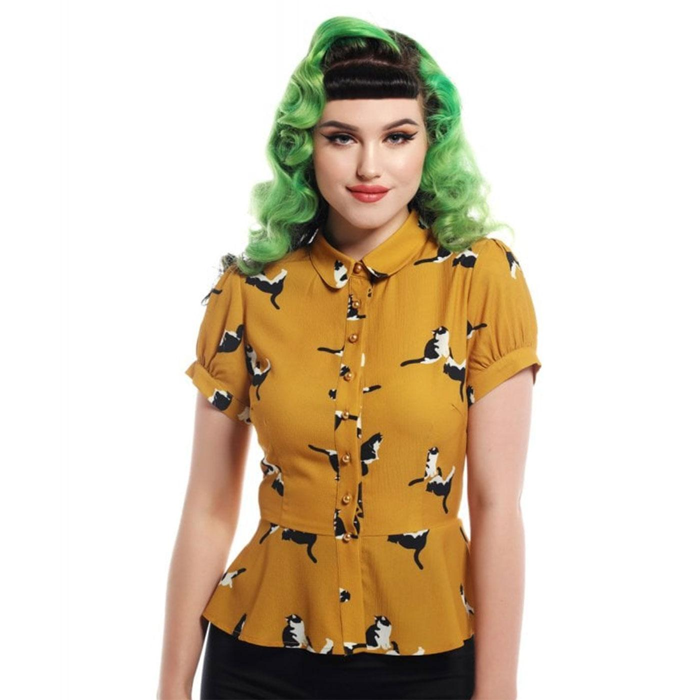 Mary Grace COLLECTIF Retro 50s Kitty Print Shirt