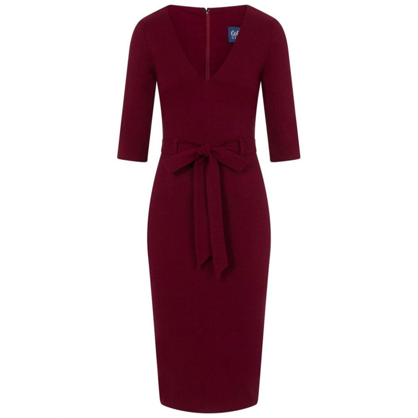 Meadow COLLECTIF Vintage 50s Pencil Dress in Wine