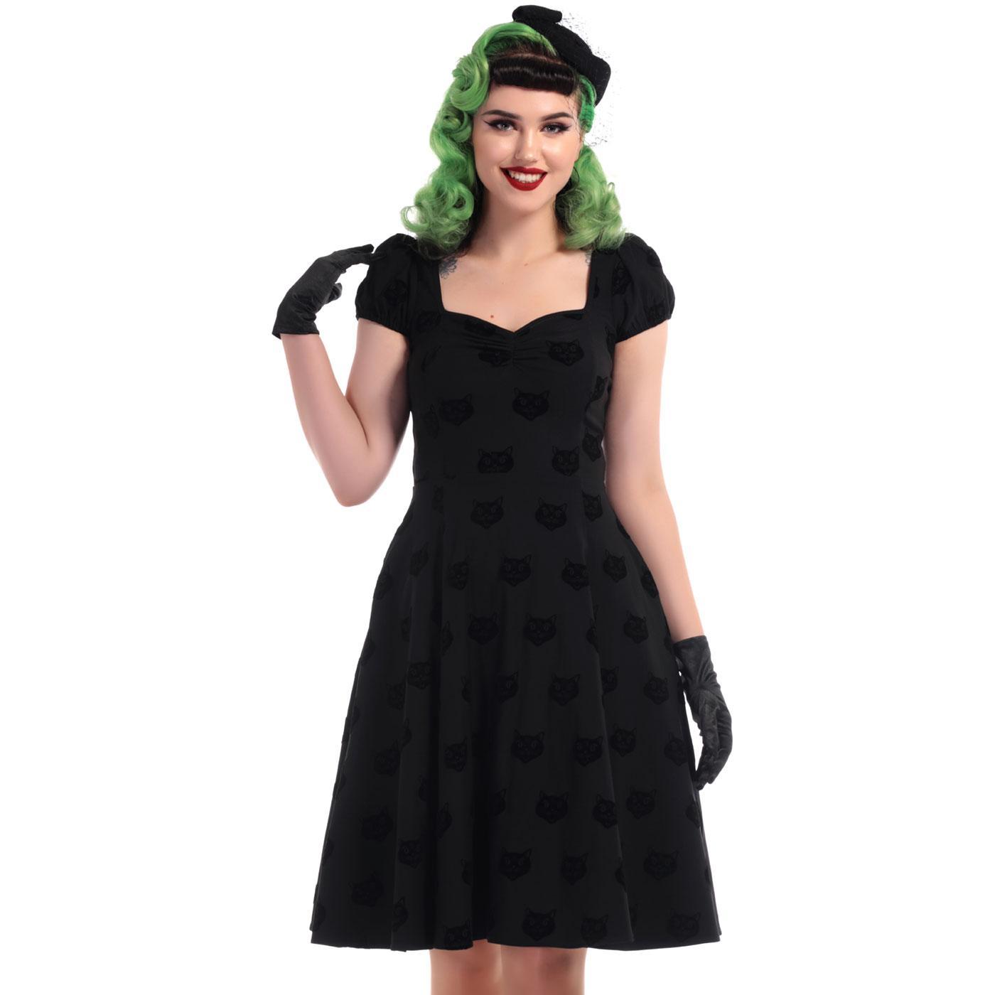 Mimi COLLECTIF Retro 50s Black Velvet Swing Dress
