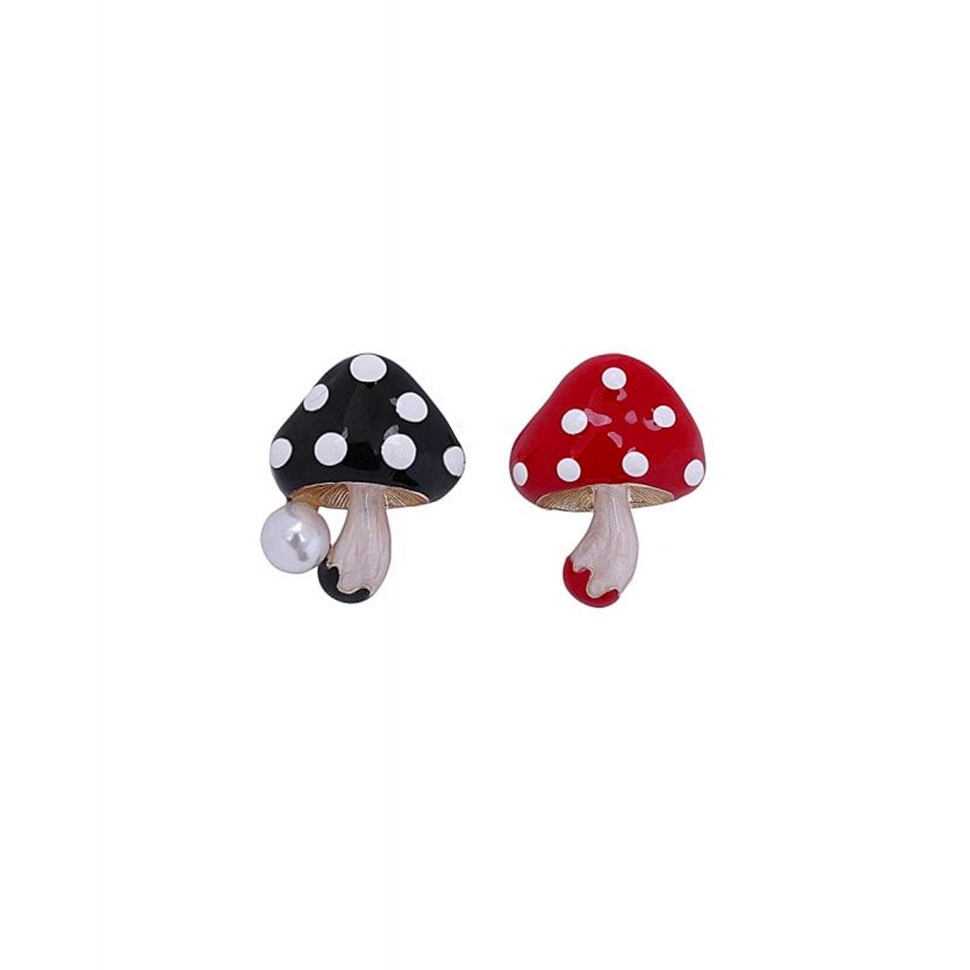Mushies COLLECTIF Mushroom Brooch Set Red/Black
