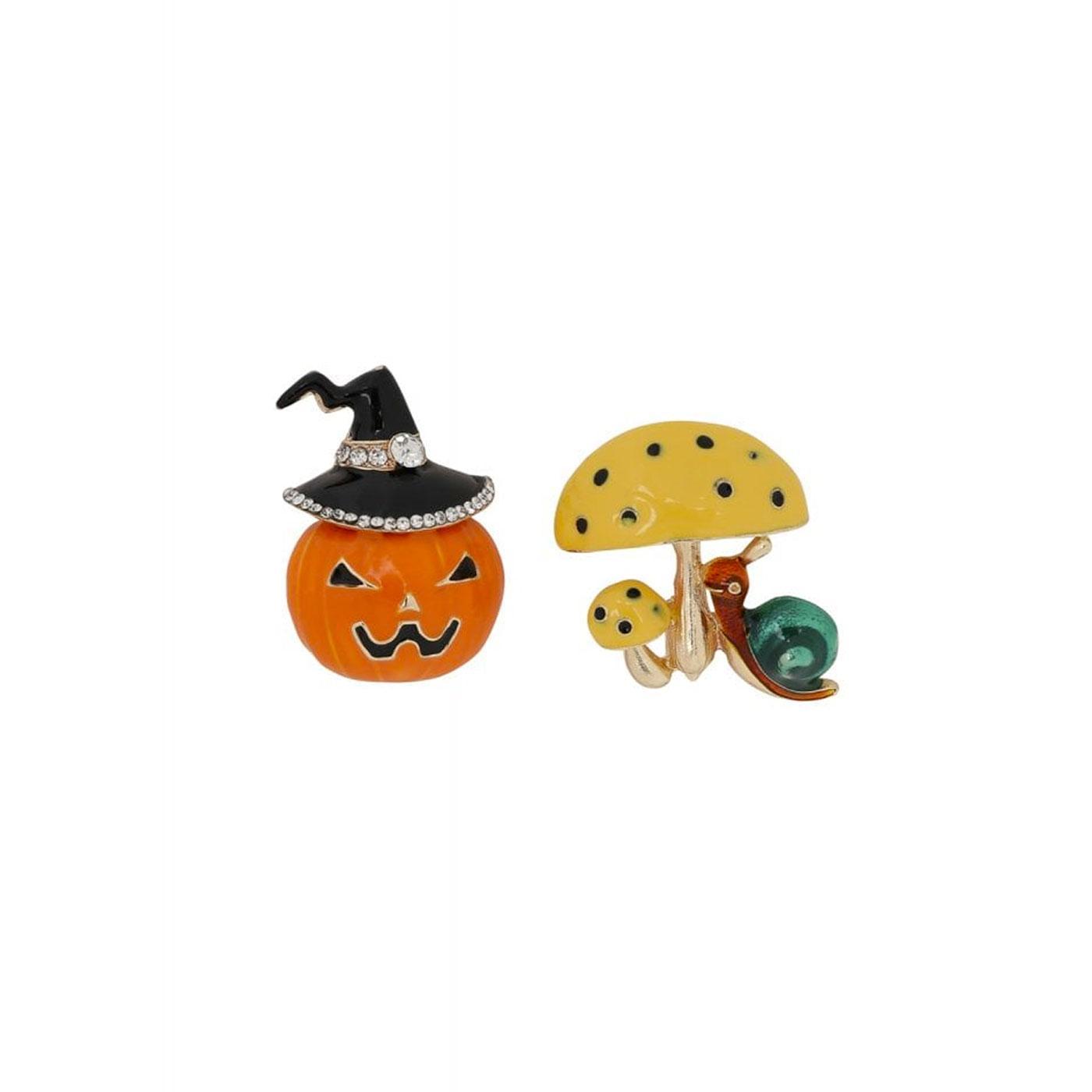 October COLLECTIF Pumpkin and Mushroom Brooch Set