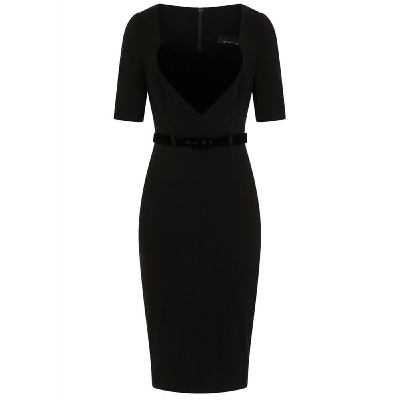 Ophelia COLLECTIF 50s Heart Applique Wiggle Dress