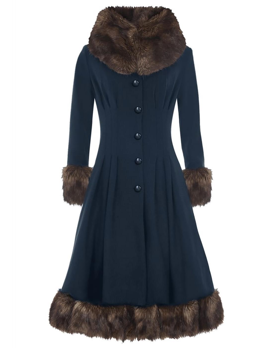 Pearl COLLECTIF Vintage 1950s Faux Fur Coat Blue