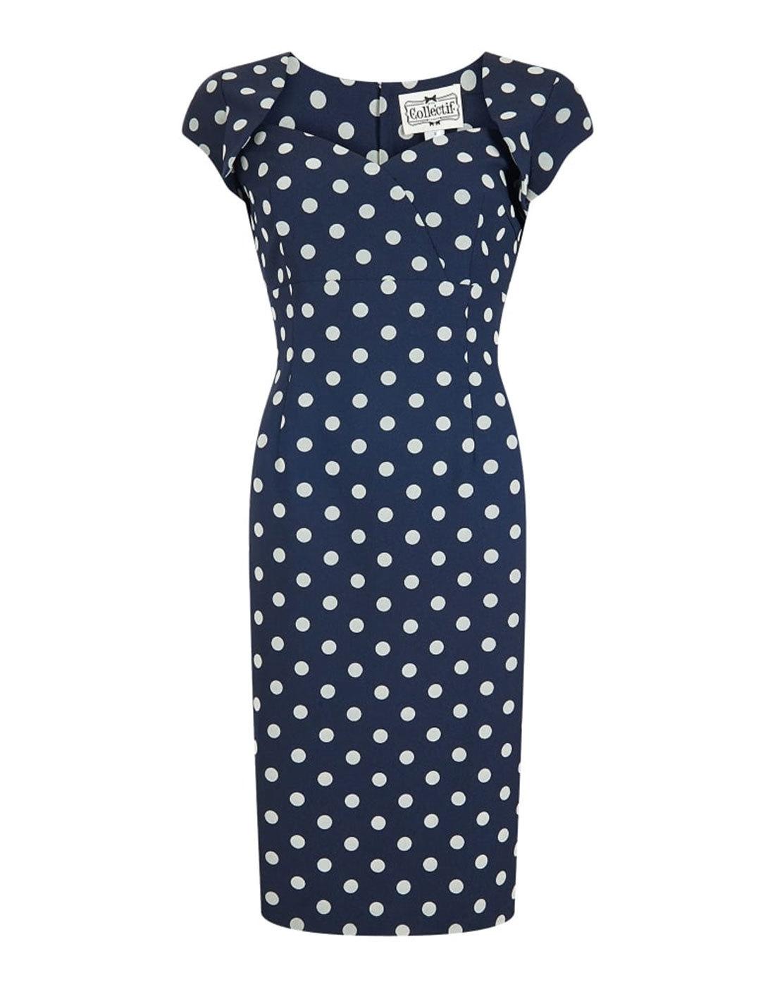 Regina COLLECTIF Retro 50s Polka Dot Pencil Dress