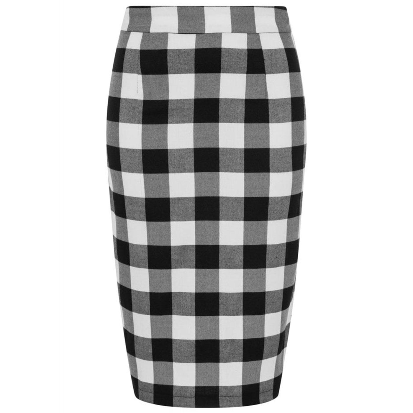 Polly COLLECTIF 50s Gingham Pencil Skirt Blk/Wht
