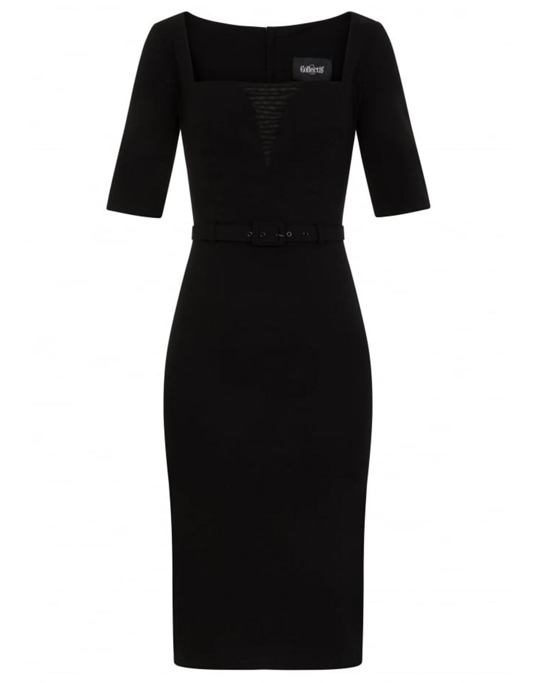 Reagan COLLECTIF Retro 50s Pencil Dress in Black