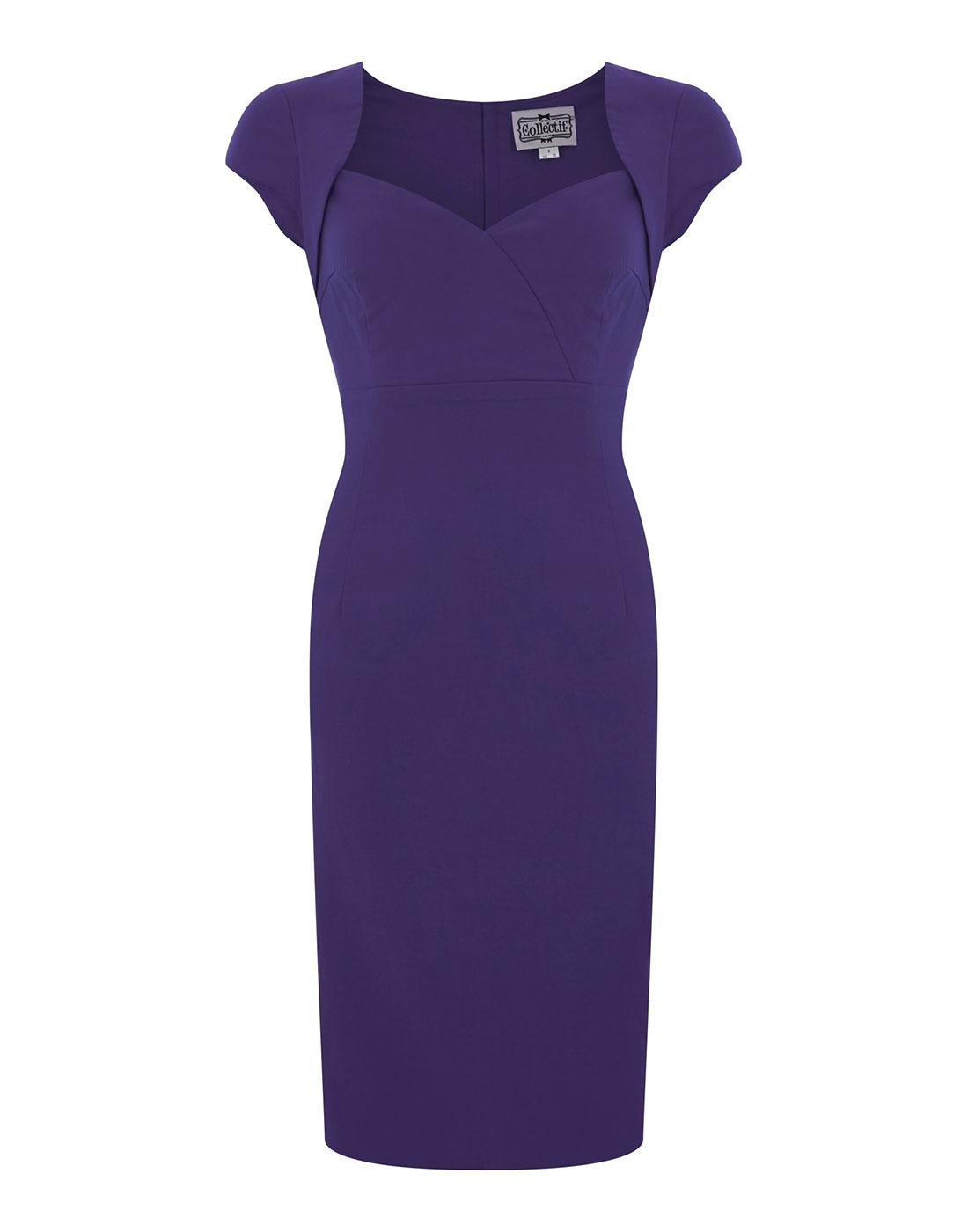 Regina COLLECTIF Retro 50s Purple Pencil Dress