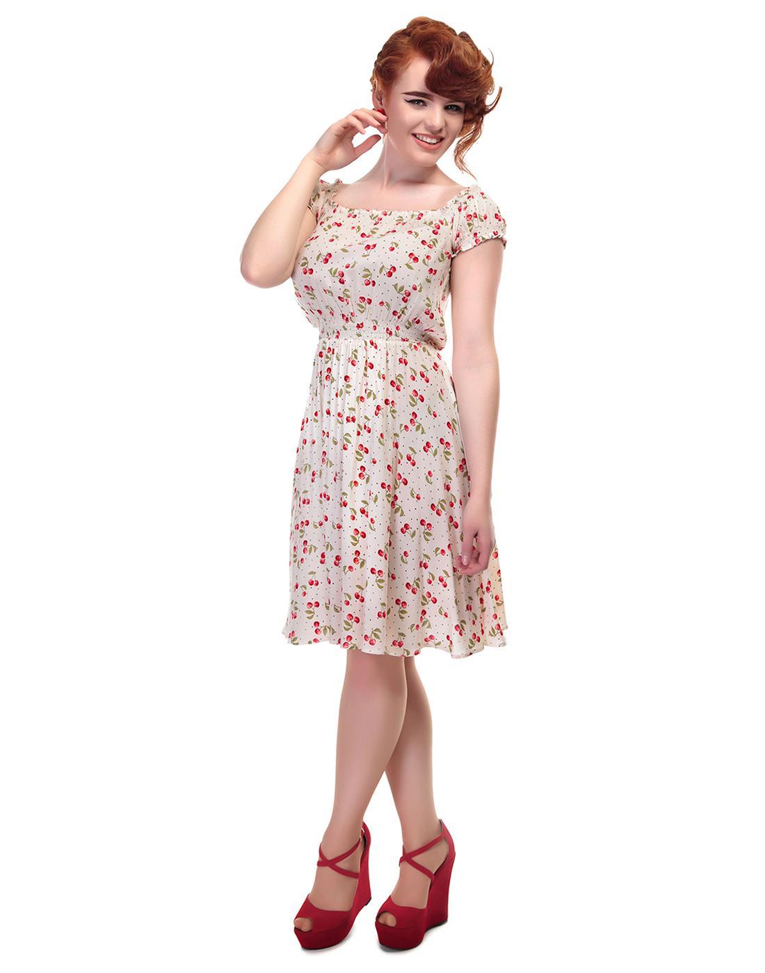 Renie COLLECTIF Retro 1950s Cherry Dot Gypsy Dress