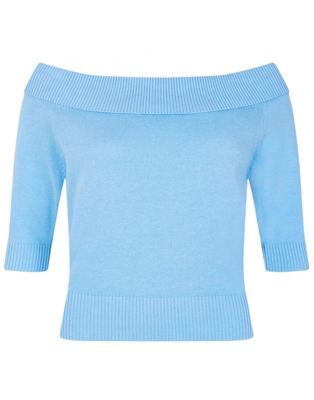 9f6823a9b24 COLLECTIF Vintage Bridgette 50s Mod Knit Bardot Top in Bluebell