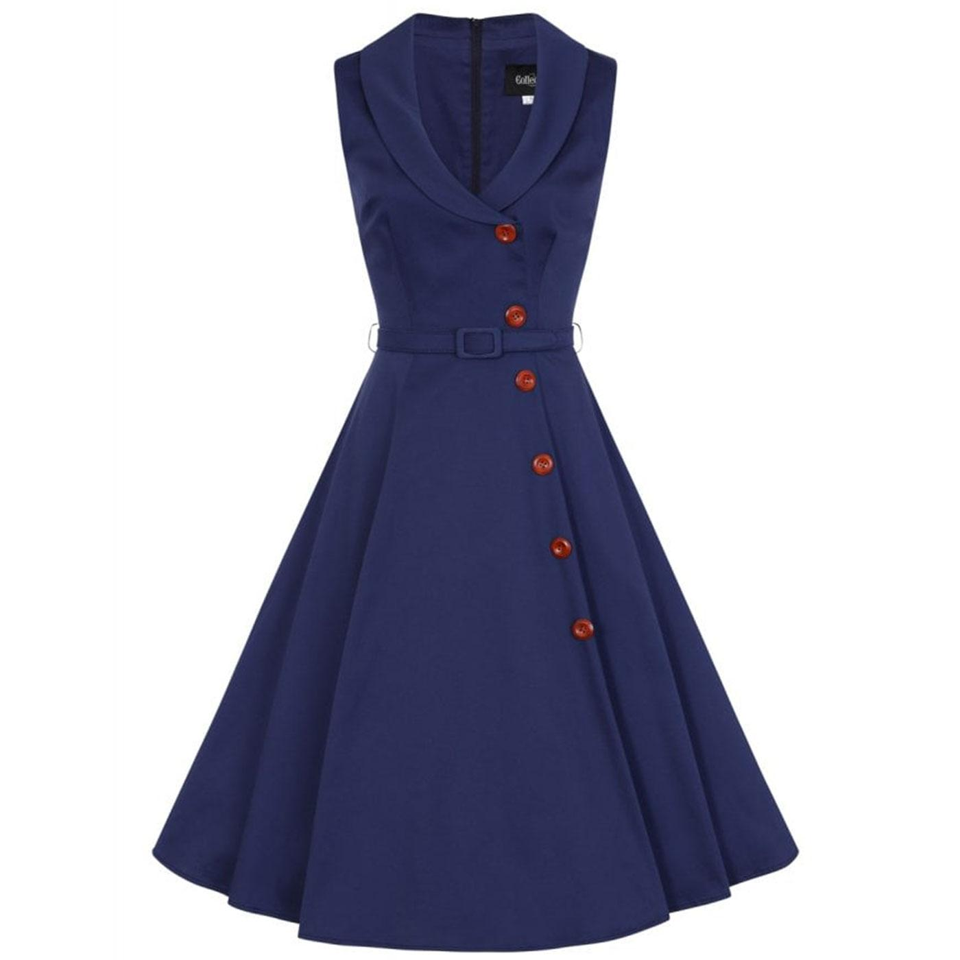 Sara COLLECTIF Retro 50s Summer Swing Dress - Navy