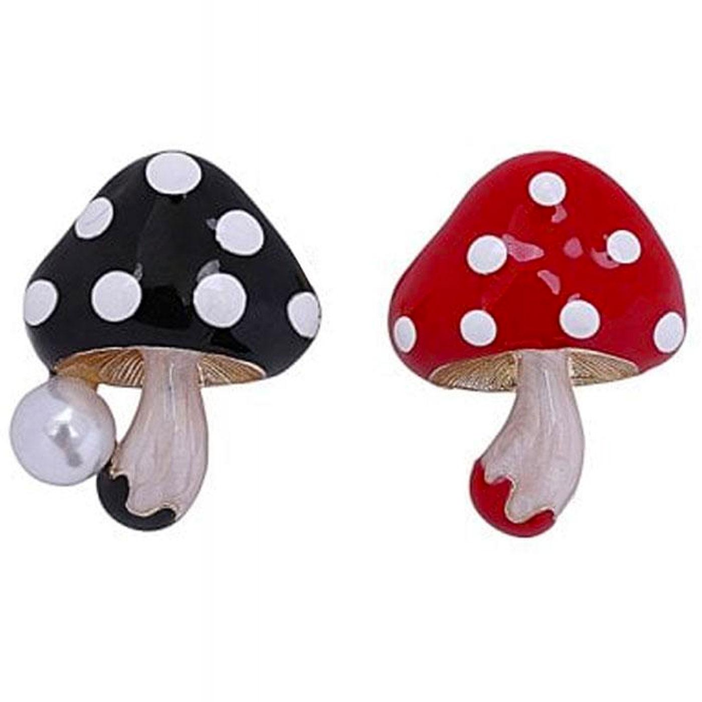 Mushies COLLECTIF Mushroom Brooch Set Red/Black
