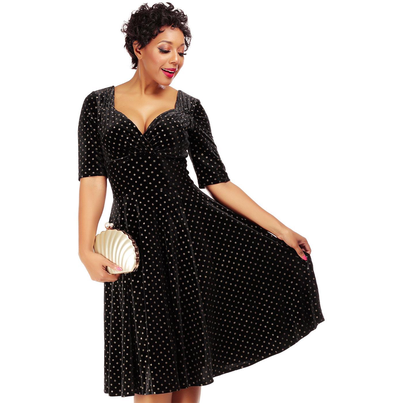 Trixie COLLECTIF 50s Golden Polka dot Swing Dress