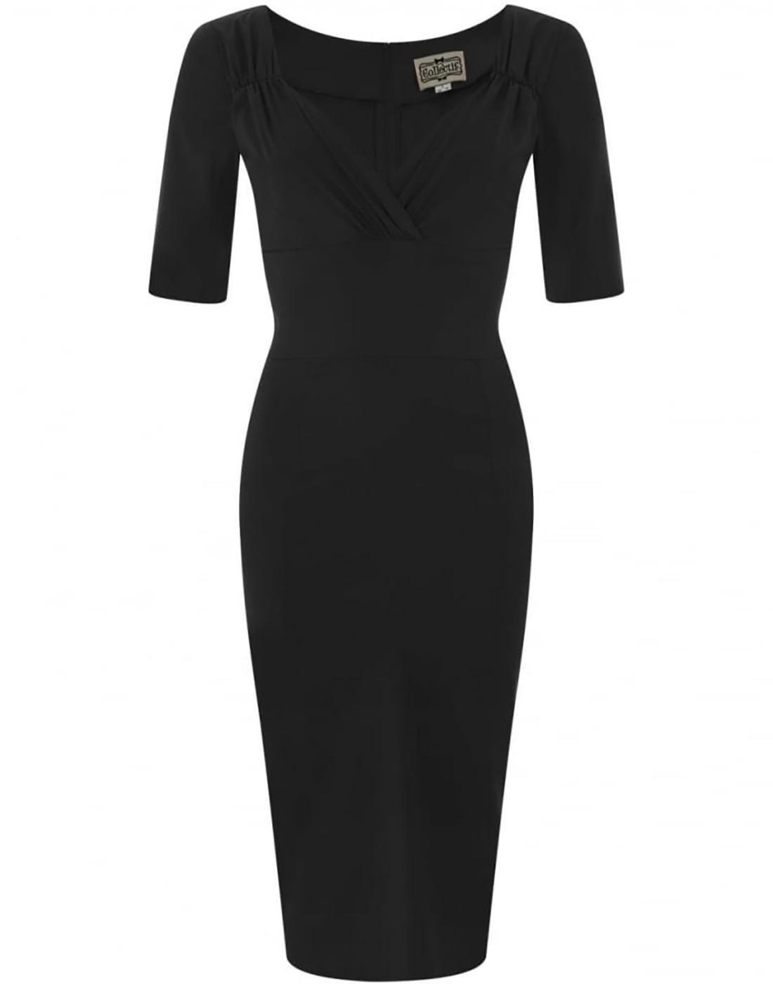 Trixie COLLECTIF Retro Vintage Black Pencil Dress
