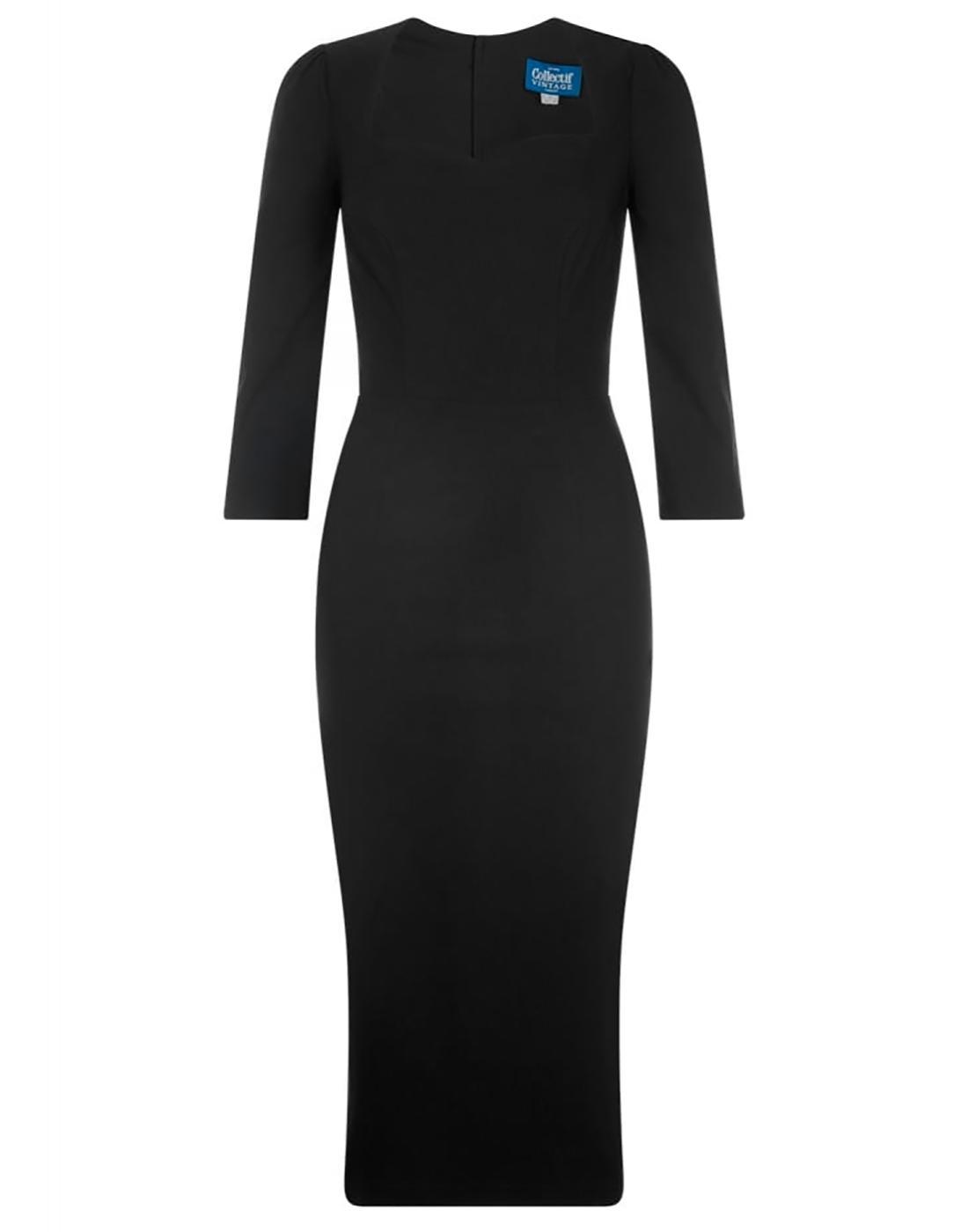 Vanessa COLLECTIF Retro 50s Pencil Dress in Black