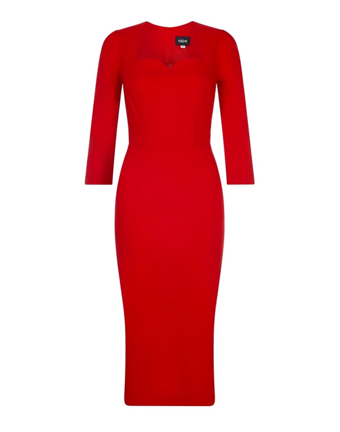 Vanessa COLLECTIF Retro 50s Pencil Dress in Red