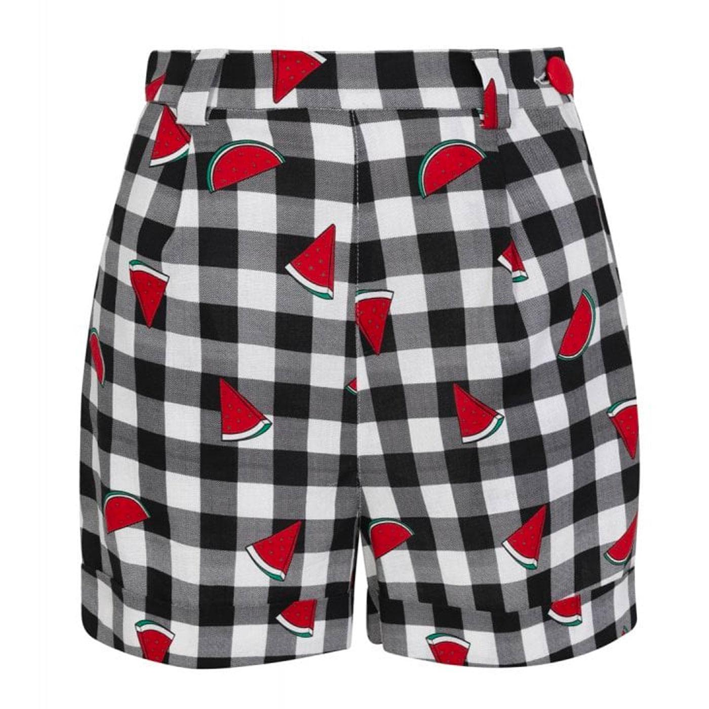 Jojo COLLECTIF Watermelon Print Gingham Shorts B/W