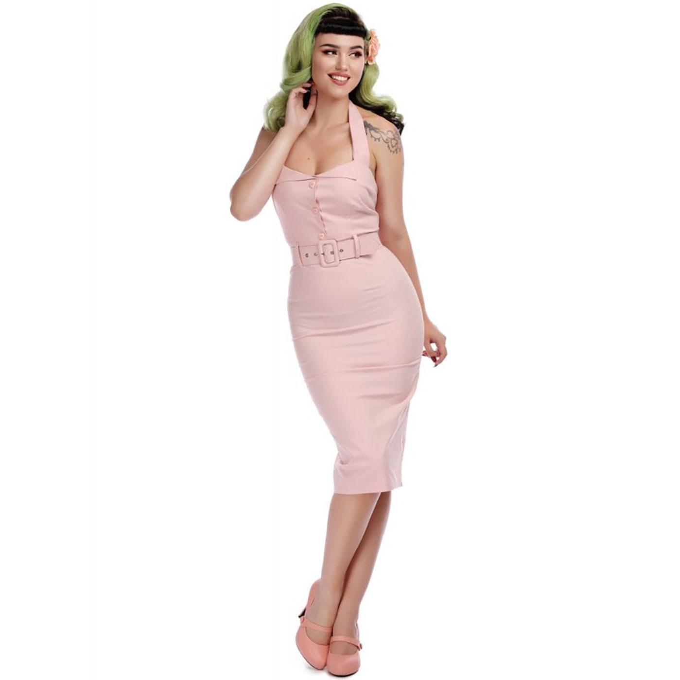 Wanda COLLECTIF Plain 1950s Pencil Dress PINK