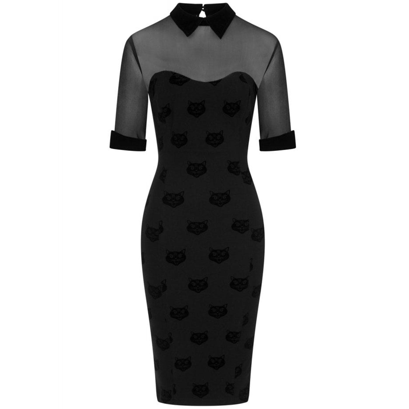 Wednesday COLLECTIF Velvet Cat Pencil Dress Black