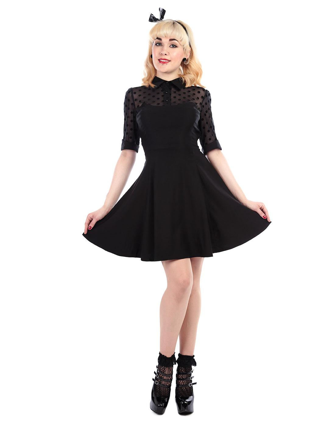 4e37a61ccd2 COLLECTIF Wednesday Retro 50s Vintage Skater Dress in Black