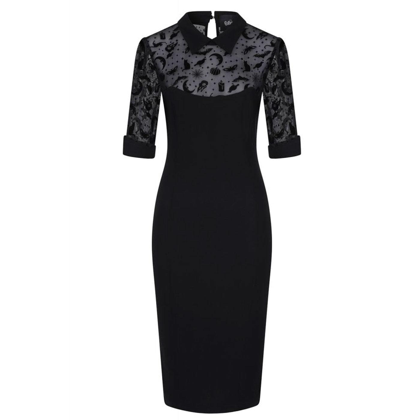 Wednesday COLLECTIF Magic Mesh Pencil Dress Black