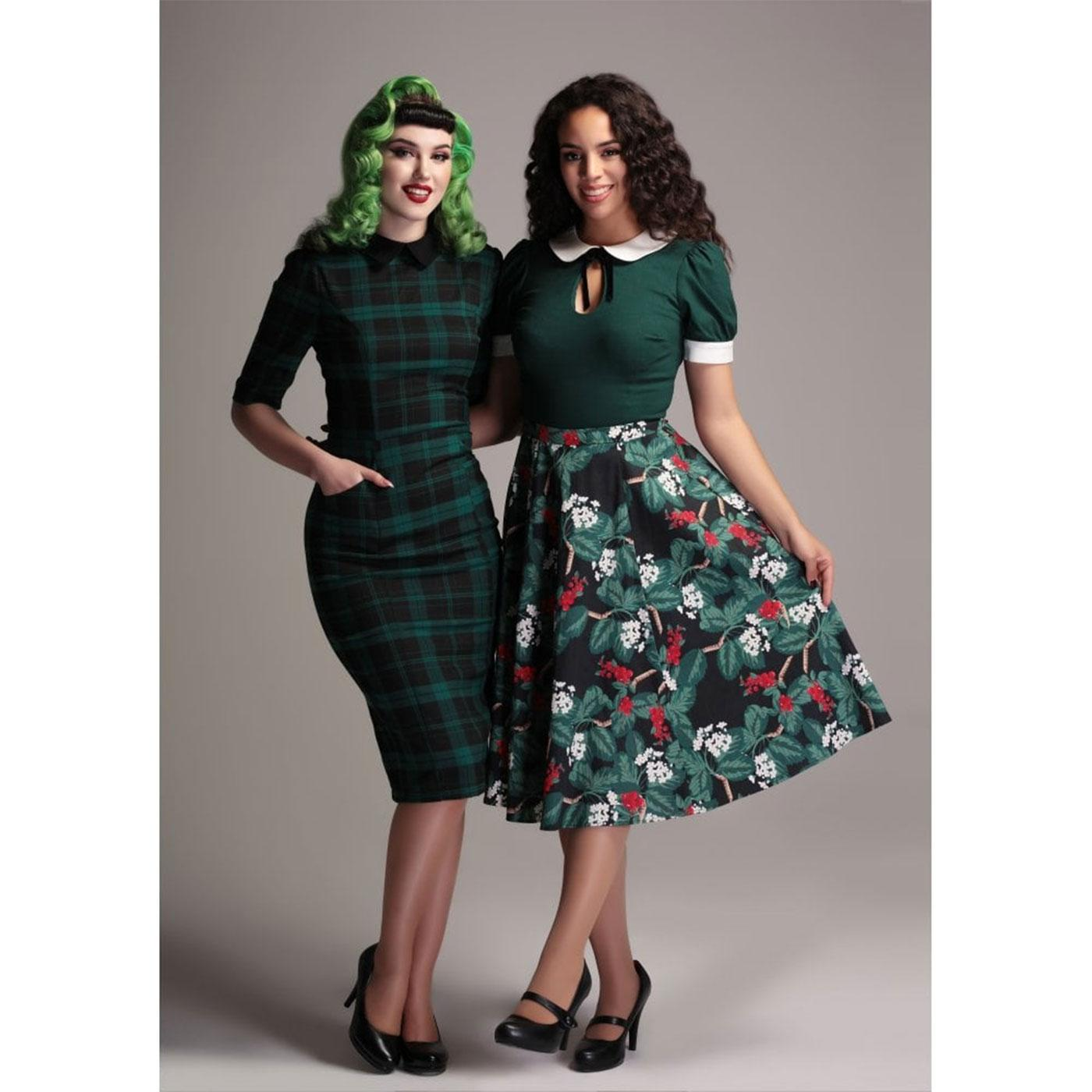 6c697ce8baee Winona COLLECTIF Tartan 1950s Pencil Dress Green