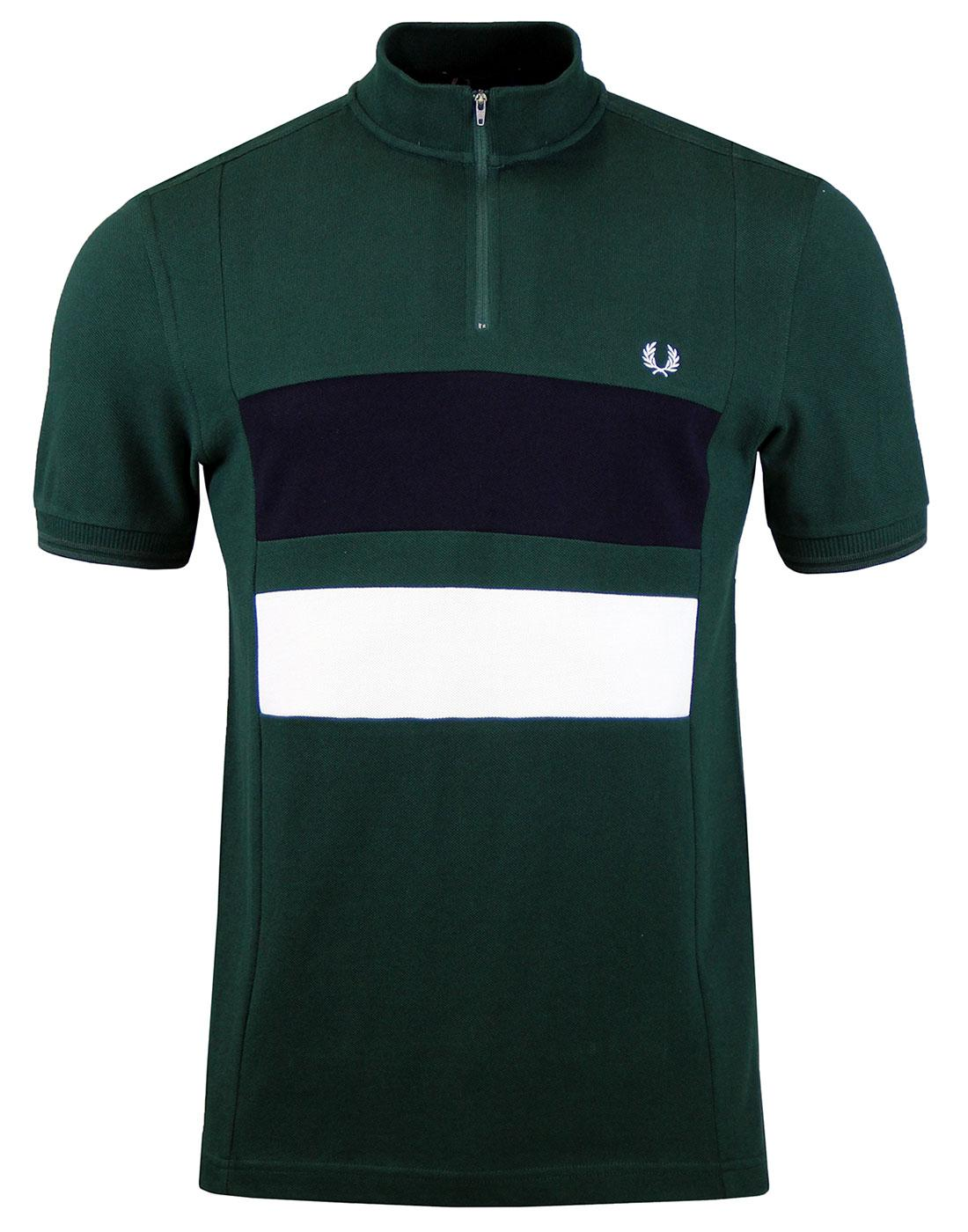 FRED PERRY M2587 Zip Pique Cycling Top Dark Ivy