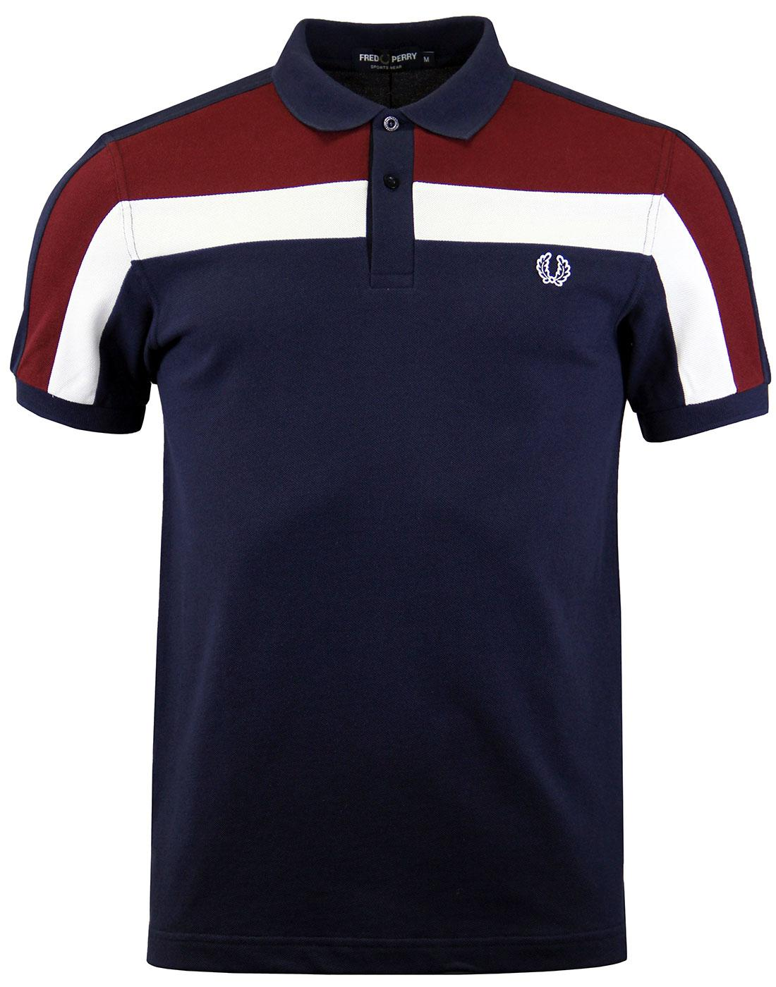 FRED PERRY M2603 colour block pique polo carbon b