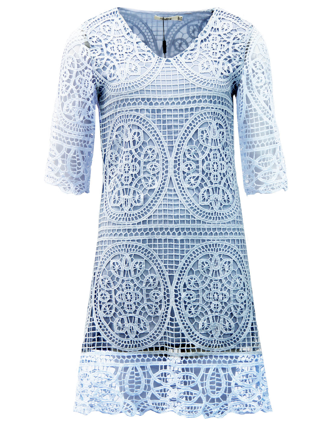 Brandie DARLING 1960s Embroidered Tunic Dress BLUE