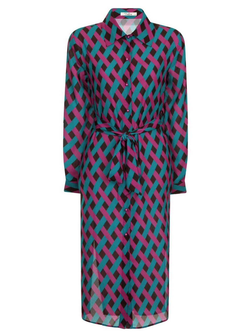 Erika DARLING Retro 70s Op Art Weave Shirt Dress