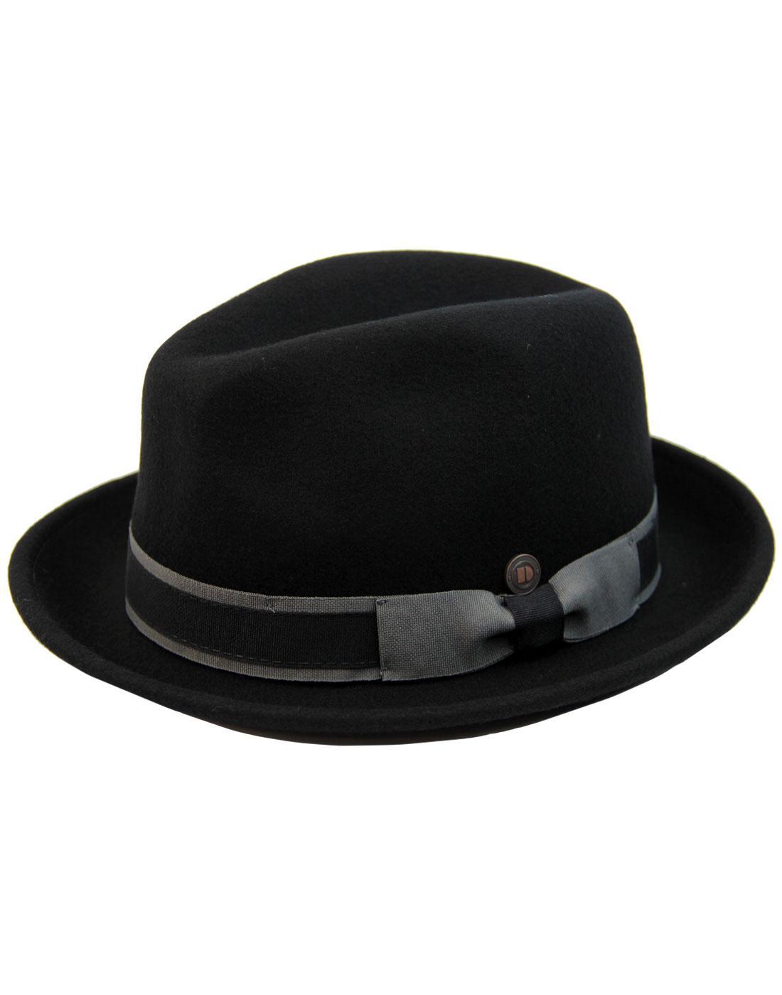 Robin DASMARCA 60s Mod Wool Felt Trilby Hat BLACK