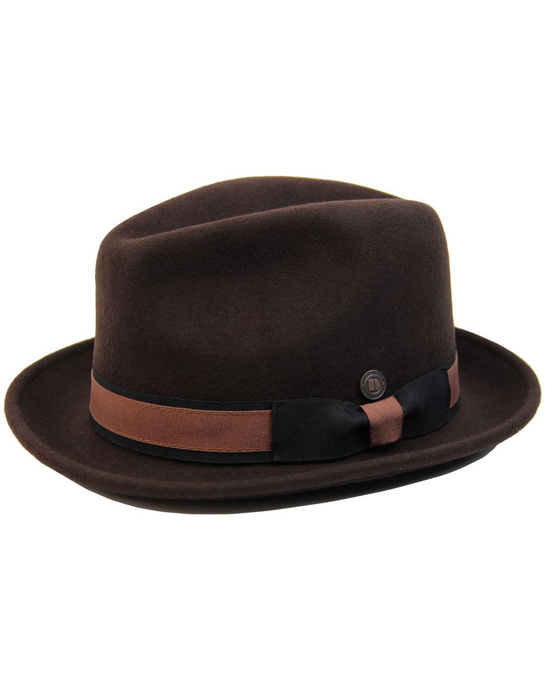 Robin DASMARCA 60s Mod Wool Felt Trilby Hat COFFEE