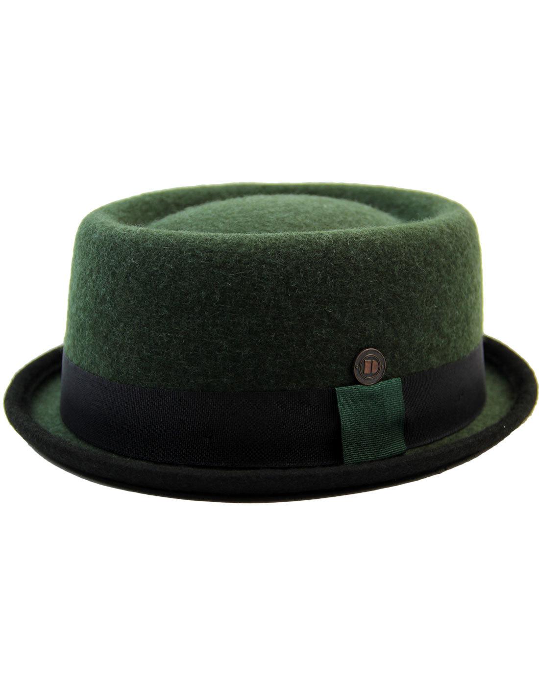DASMARCA Tony Retro Mod Ska Wool Felt Porkpie Hat in Moss Green 31fe56c3ba8