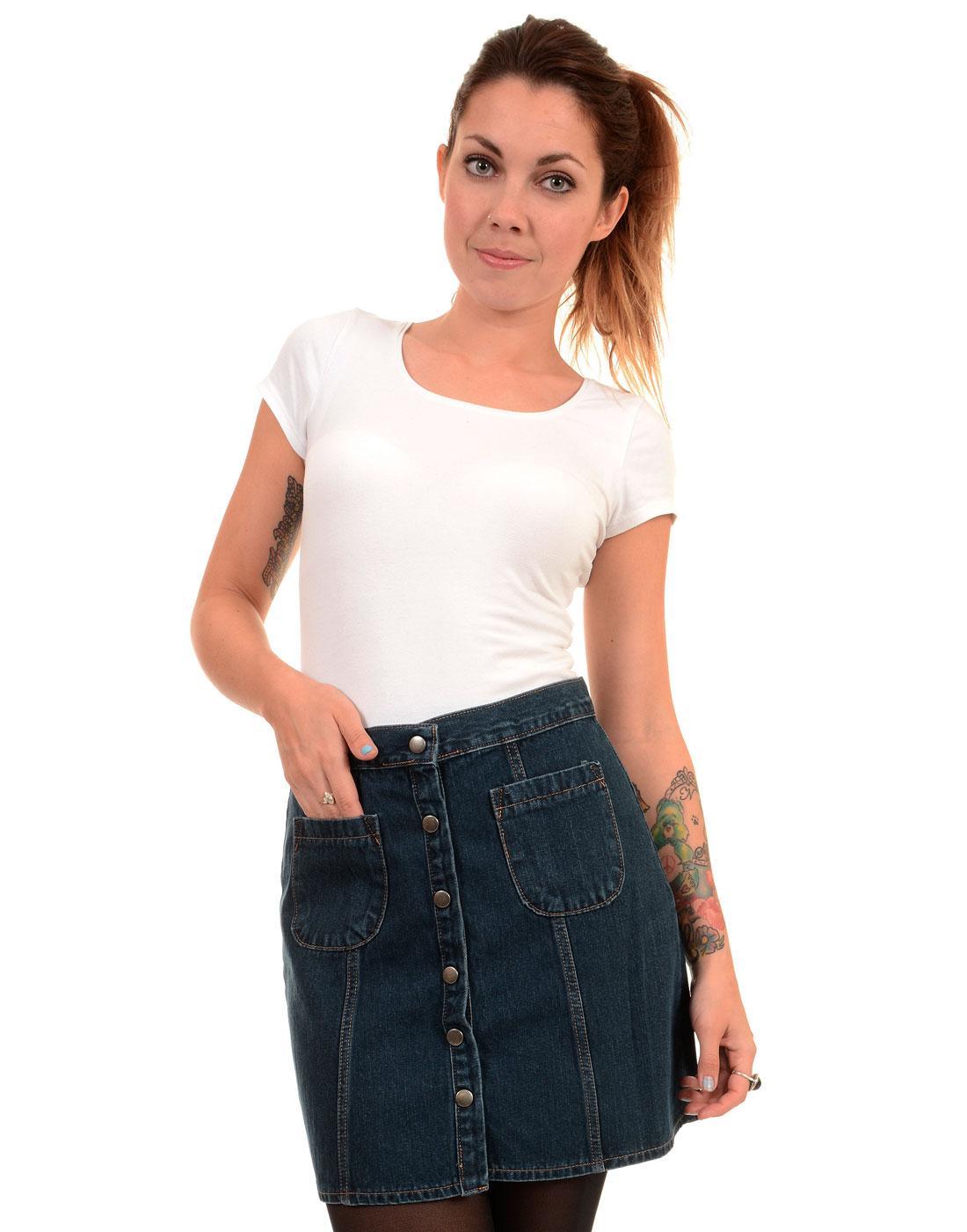 Retro 1970s Stonewash Denim Snap Front Mini Skirt