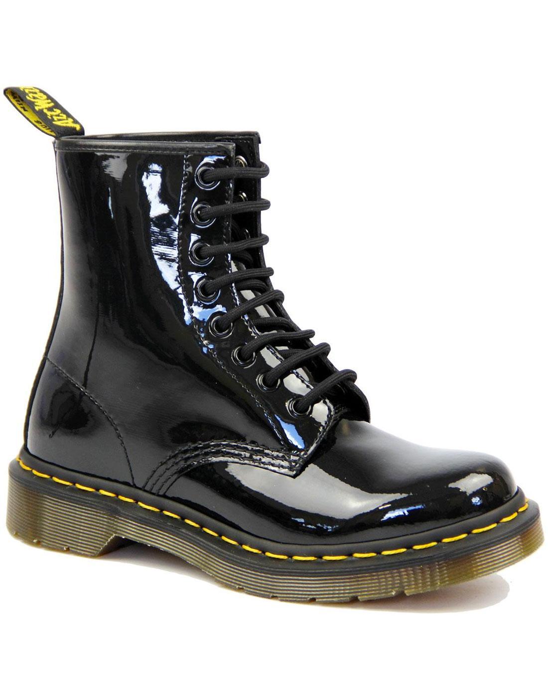 1460 W DR MARTENS Retro Patent Lamper Boots BLACK